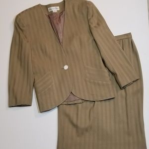 Vintage Christian Dior Wool Striped Skirt Suit